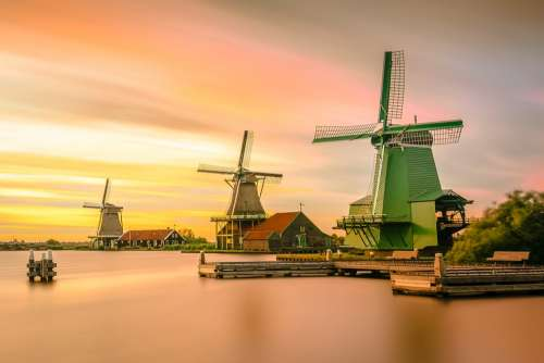 Architecture Windmills Holland Buildings Dawn Dusk