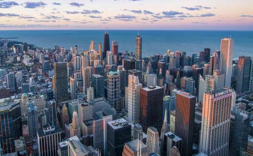 Architecture Chicago Buildings City Cityscape Dawn