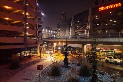 Architecture Building Modern Night City Facade