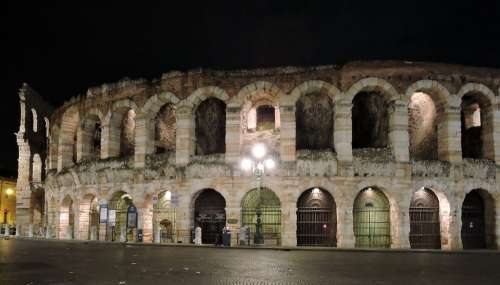 Arena Verona Night Italy Monument Piazza Bra