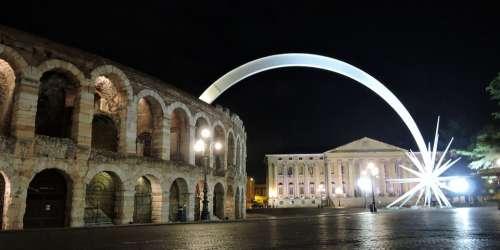 Arena Verona Comet Christmas Night Lighting Italy