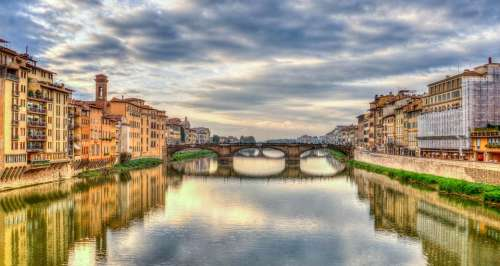 Arno River Florence Firenze Italy Reflection River