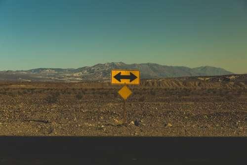 Arrows Barren Direction Road Road Sign Decision
