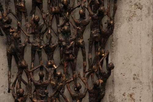 Art Sculpture Human Church Supplicate Bronze