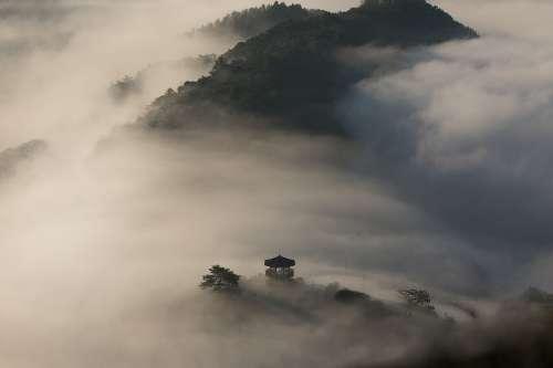 Asia Pagoda Hills Nature Landscape Foggy Misty
