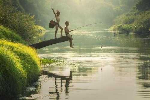 Asia Boys Cambodia Children Fish Fisherman