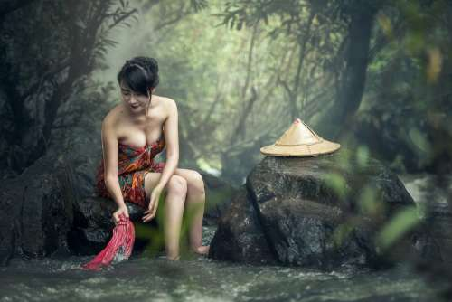 Asia Woman Bath Washing Clothes Cambodia Culture