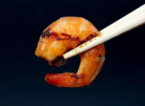 Asian Barbeque Chopsticks Shrimp Prawn Grilled