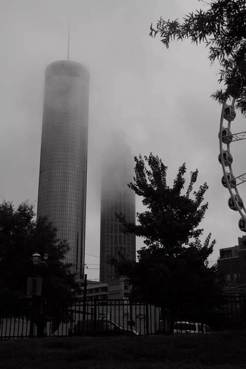 Atlanta Fog Mist Architecture Buildings City