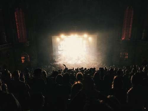Audience Backlit Band Battle Concert Crowd Dark