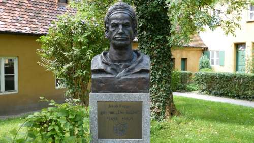 Augsburg Fuggerei Building Bust Monument House
