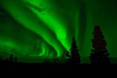 Aurora Borealis Northern Lights Green Night