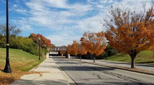 Autumn Fall Road Street Clouds Sidewalk Underpass