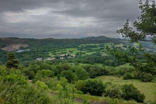 Auvergne Landscape Green Hill Nature France