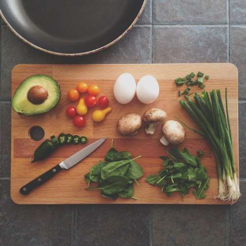 Avocado Chopping Board Cooking Eggs Food
