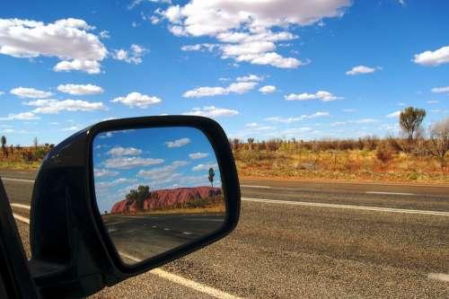 Ayers Rock Uluru Australia Outback Rear Mirror