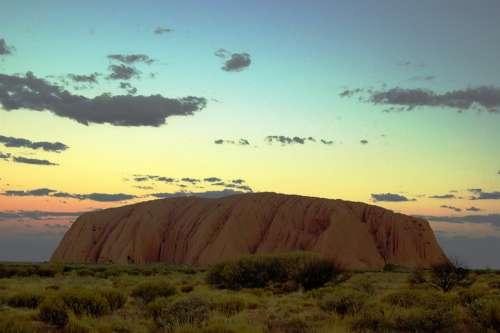 Ayers Rock Uluru Australia Outback Dusk Setting