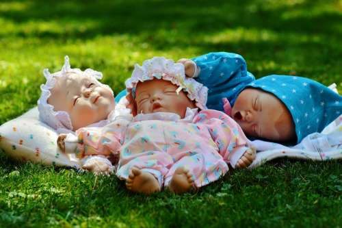 Babies Three Sleep Eyes Closed Peaceful Cute