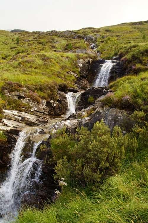 Bach Waterfall Scotland Nature Landscape Water