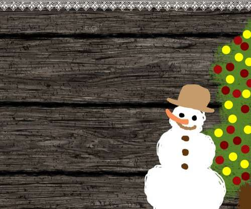 Background Wood Snowman Christmas Tree