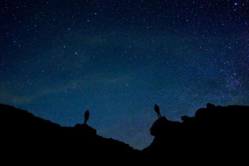 Backlit Stars Night Sky Beautiful Evening Idyllic