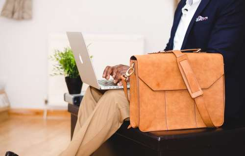 Bag Chair Computer Indoors Laptop Macbook Man