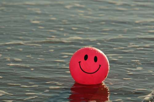Ball Beach Happy Ocean Pink Smile Smiley