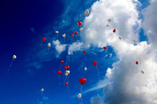 Balloon Heart Love Romance Sky Heart Shaped Red