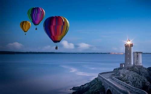Balloon Hot Air Balloon Ride Lighthouse Sky Glow