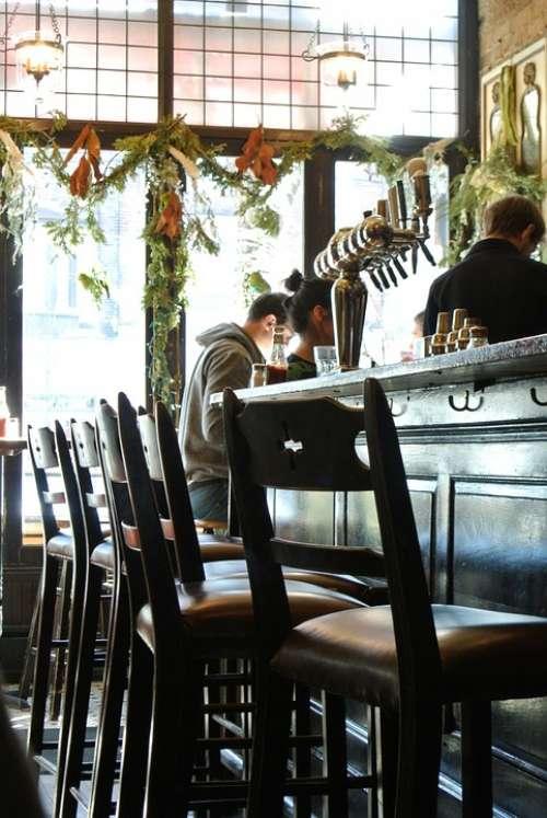 Bar Chairs Drinks Interior Glass