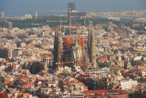 Barcelona Holy Cathedral Church View Landscape