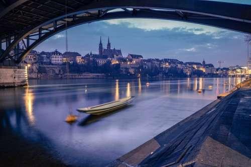 Basel River Rhine Boat Silence City Skyline