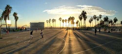 Basketball Park Sunset Court Basketball Court