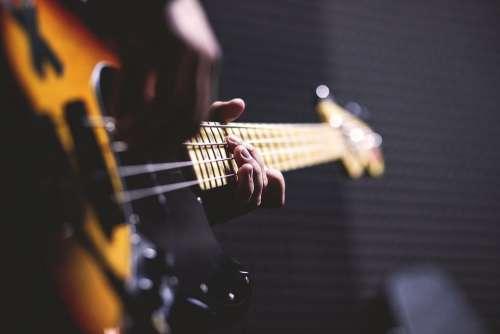 Bass Guitar Chord Close-Up Electric Guitar Fingers