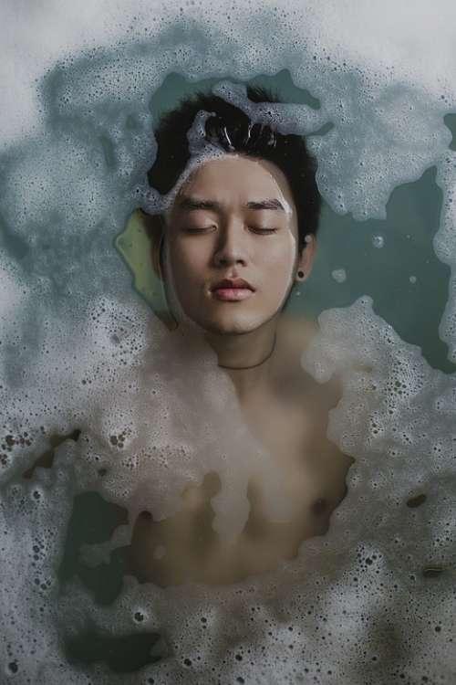 Bathing Person Water Foam Soap Man Boy Relaxing