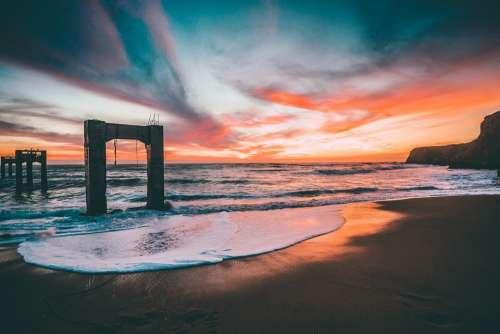 Beach Sunset Sand Ocean Sea Coast Water Vacation