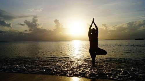 Beach Sunset Yoga Meditate Meditation Pose