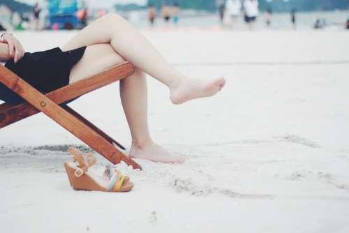 Beach Beach Chair Feet Female Barefoot Girl Lady
