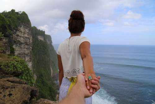 Beach Cliff Coast Couple Hands Nature Ocean