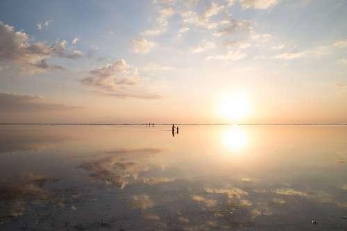 Beach Clouds Dawn Dusk Nature Ocean Reflection
