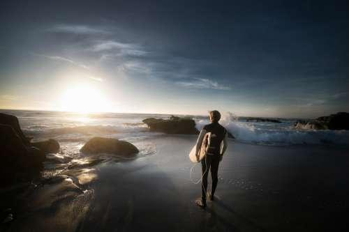 Beach Man Ocean Rocks Sand Sea Seascape Seashore
