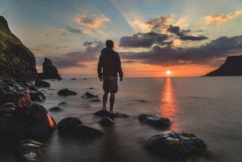 Beach Clouds Dawn Dusk Man Nature Ocean Outdoors
