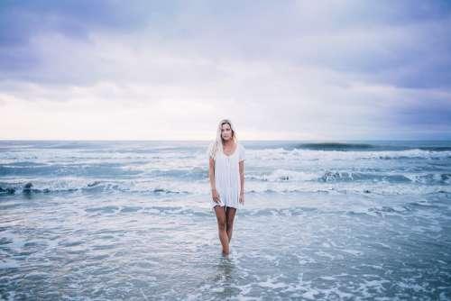 Beach Beautiful Blonde Enjoyment Female Girl