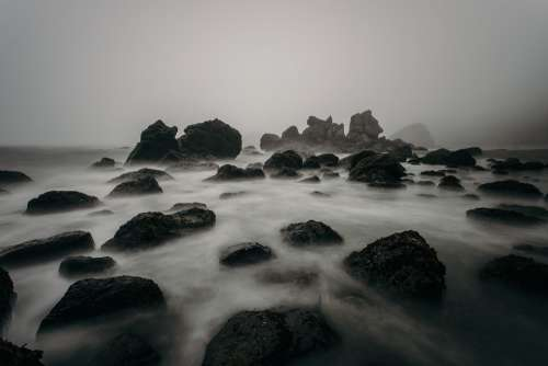 Beach Foggy Mist Nature Ocean Rocks Sea Seascape