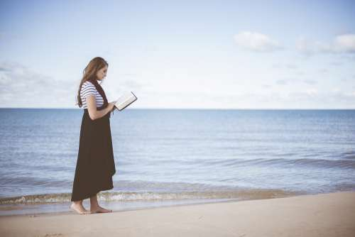 Beach Girl Ocean Person Reading Sand Sea