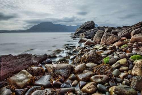 Beach Rock Coast Scotland Isle Of Skye Elgol