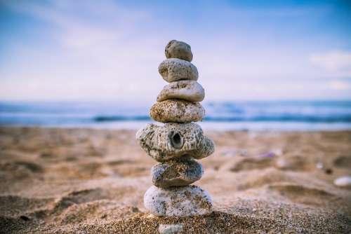 Beach Balance Wallpaper Rock Sand Stacked Stones