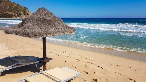 Beach Sand Deck Chair Parasol Sea Summer