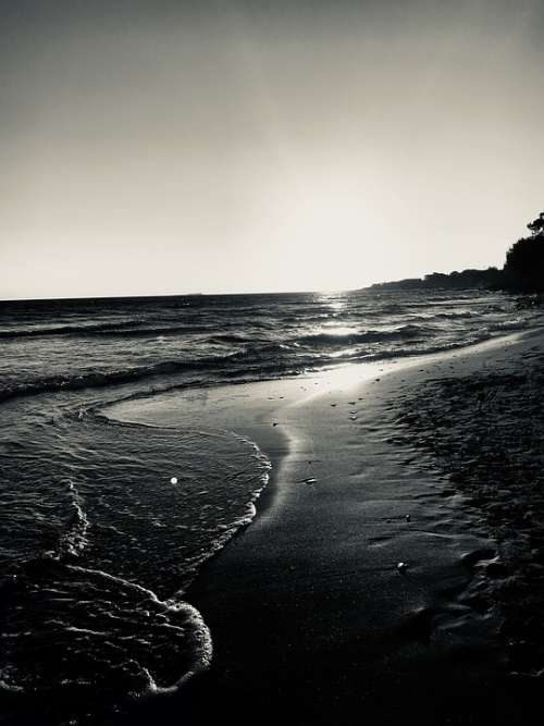 Beach Sunset Sea Corfu Nature Landscape