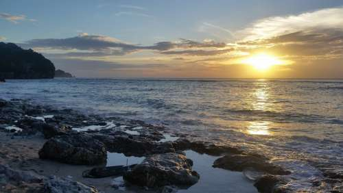 Beach Sunset Bali Indonesia Rock Pools Ocean